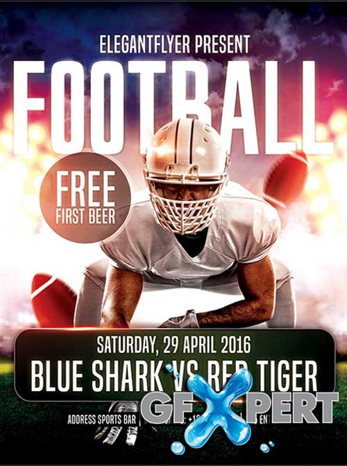 Football Flyer PSD Template + Facebook Cover