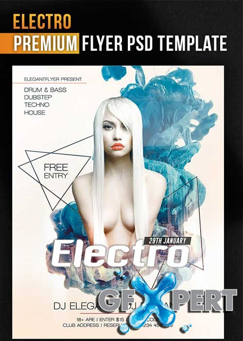 Electro Flyer PSD Template + Facebook Cover