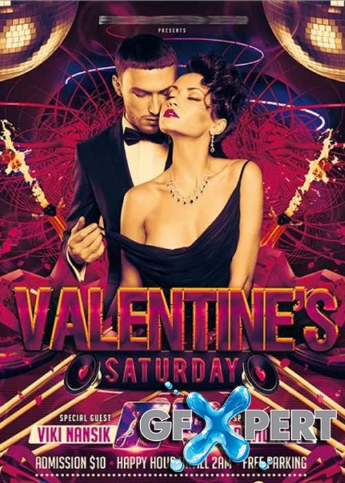 Valentines Saturday Premium Flyer Template