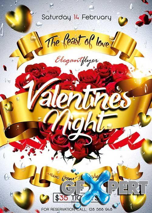 Valentines Night Flyer PSD Template + Facebook Cover