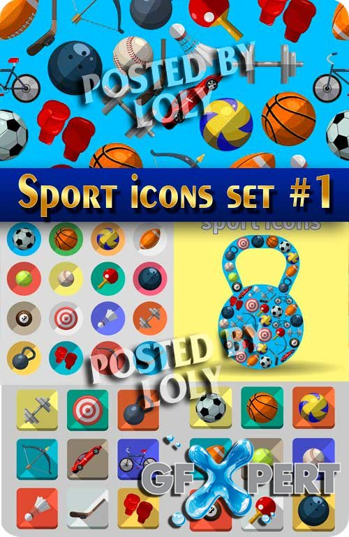 Sport icons set #1 - Stock Vector