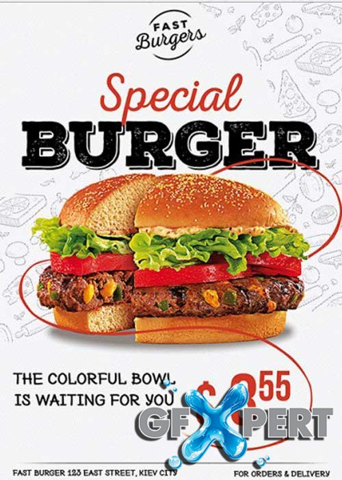 Special Burger Premium Flyer Template + Facebook Cover