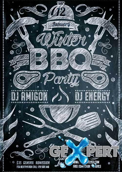 free winter bbq party flyer psd template   facebook cover