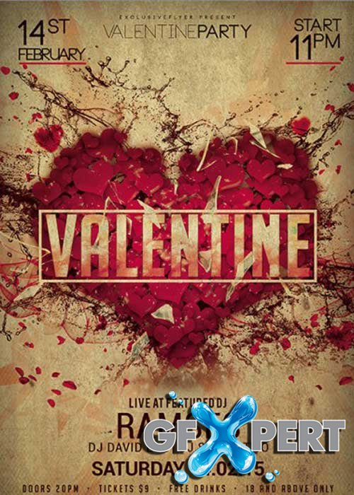 Valentine Party Night Premium Flyer Template