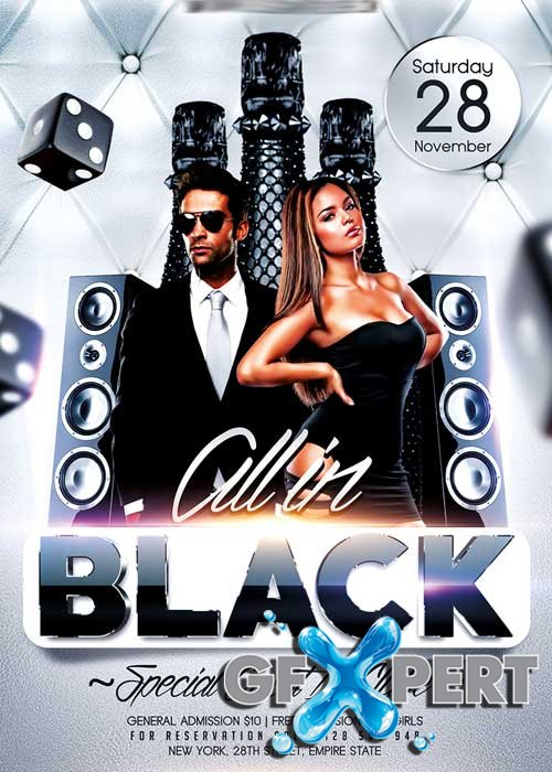 All in Black Party Flyer PSD Template + Facebook Cover