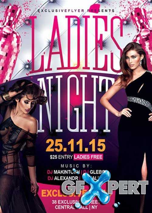 Ladies Night V2 Premium Flyer Template + Facebook Cover