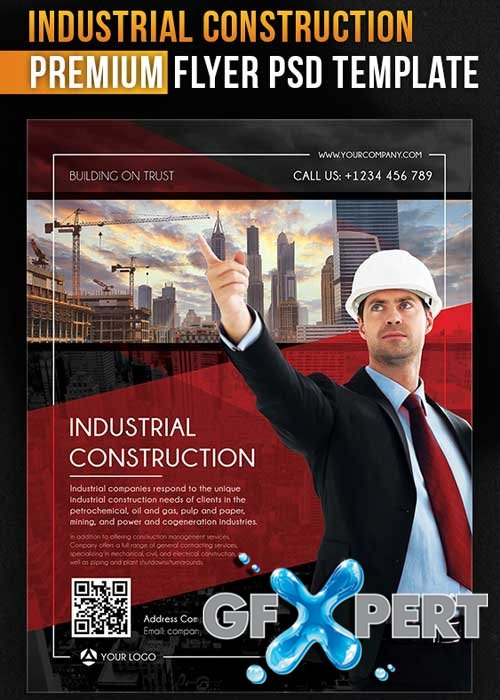 Industrial Construction Flyer PSD Template + Facebook Cover