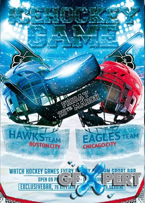 Free Ice Hockey Game Premium Flyer Template download