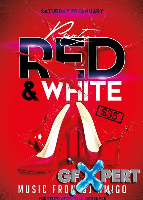 free red and white party flyer psd template facebook