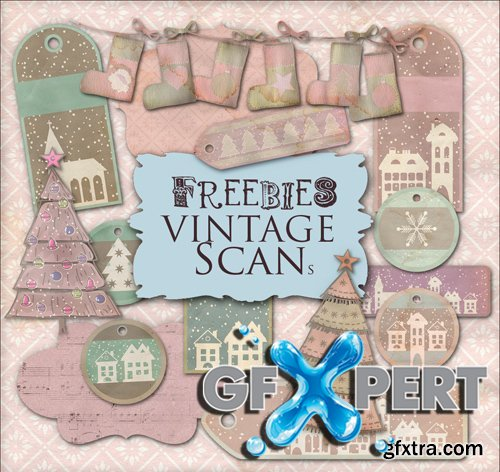 Scrap Kit - Winter Labels in Retro Style