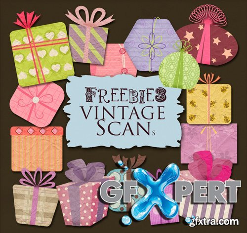 Scrap Kit - Gift Labels in Retro Style