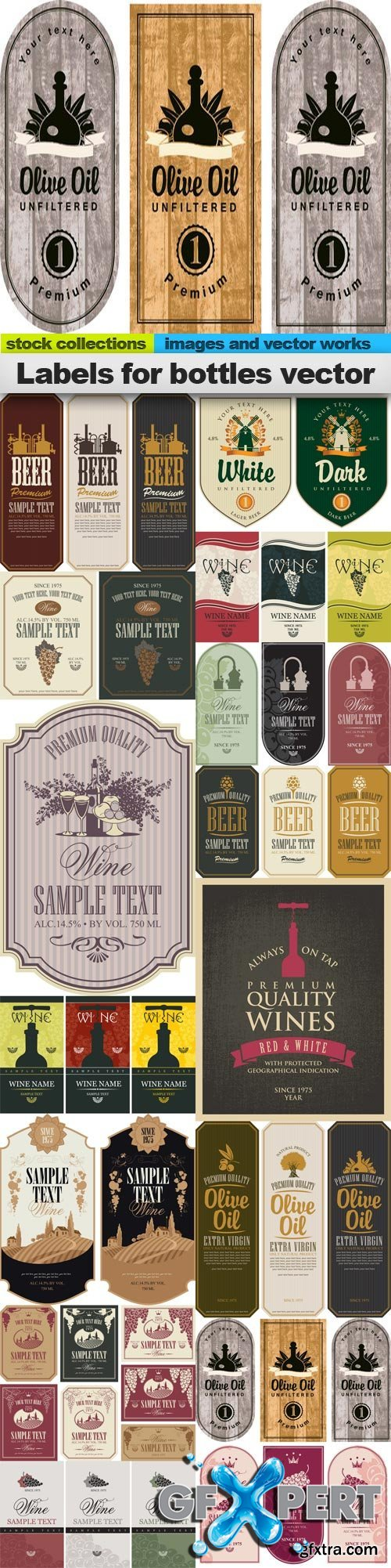 Labels for bottles vector, 15 x EPS