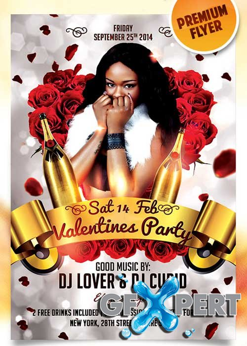 Valentines Party Flyer PSD Template + Facebook Cover