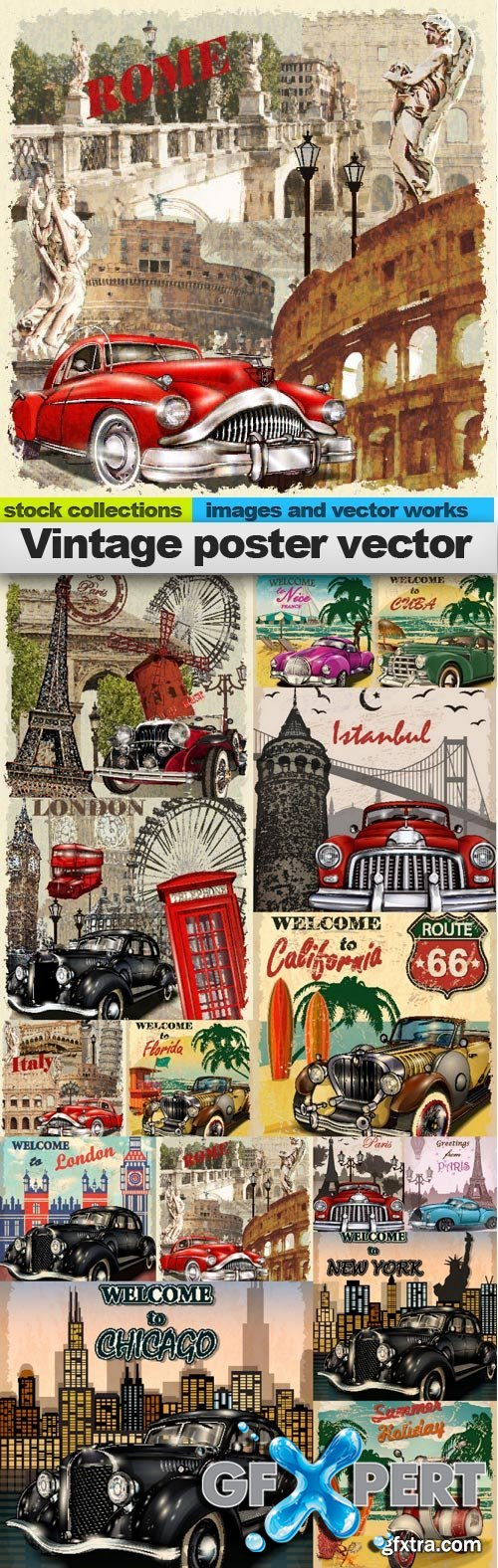Vintage poster vector 2, 15 x EPS