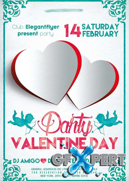 Valentines day Party V02 Flyer PSD Template + Facebook Cover