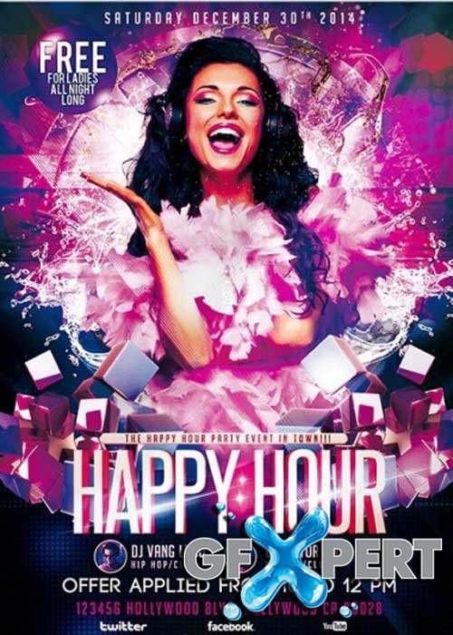 Happy Hour Party Premium Flyer Template