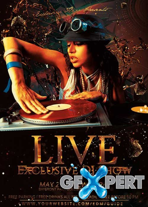 Exclusive DJ Live Show Premium Flyer Template + Facebook Cover