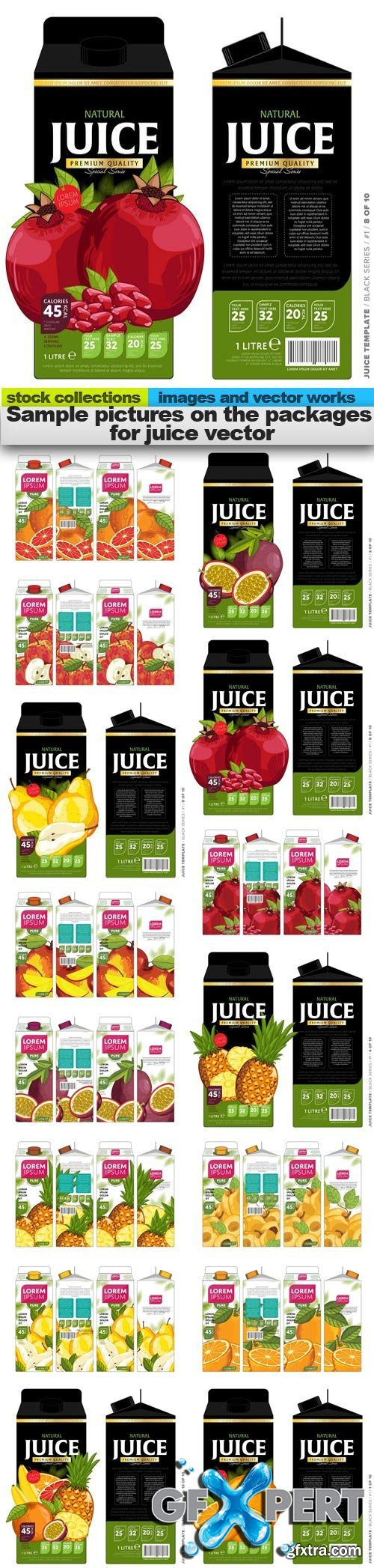Sample pictures on the packages for juice vector, 15 x EPS