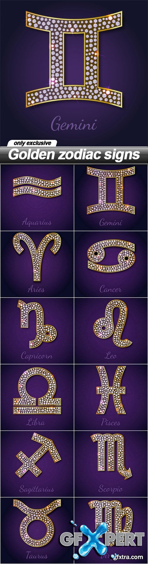 Golden zodiac signs - 12 EPS