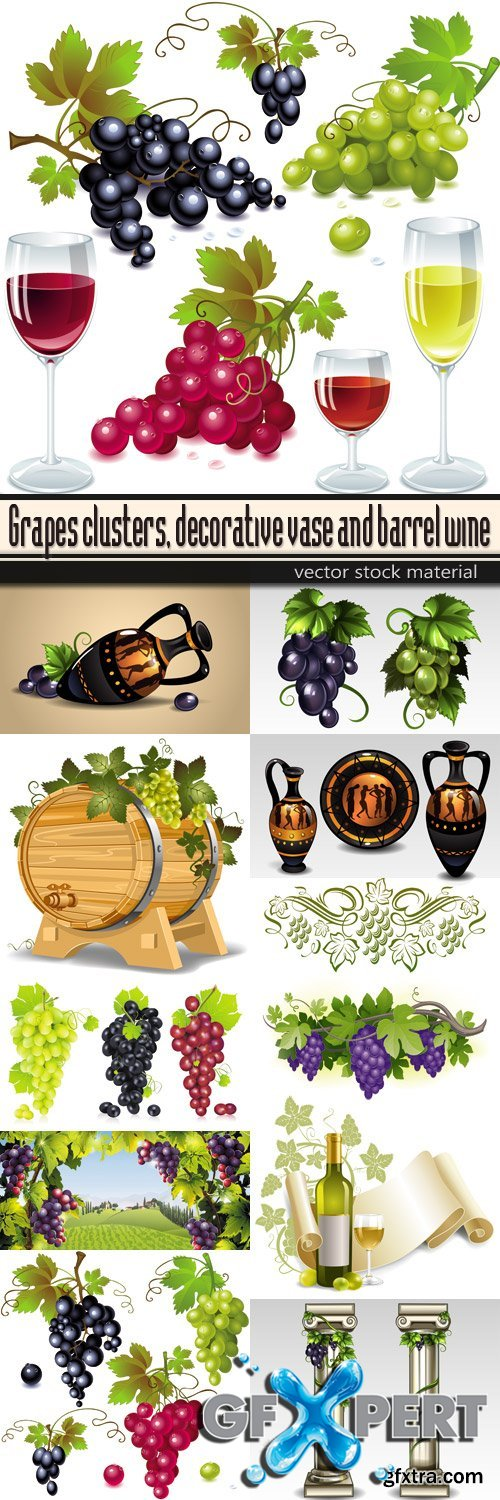 Grapes clusters, decorative vase and barrel wine