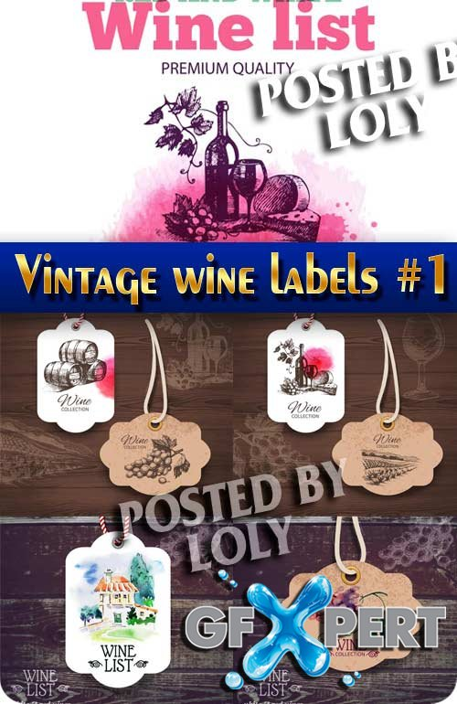 Vintage wine labels #1 - Stock Vector