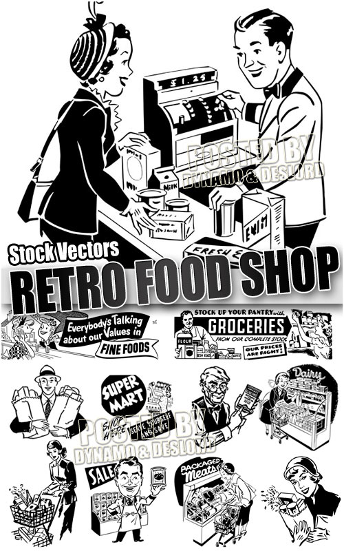 Retro food shop - Stock Vectors
