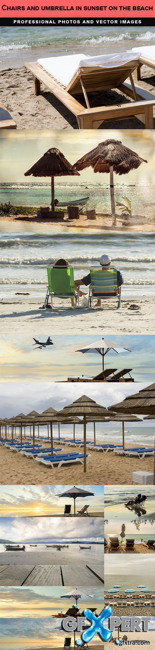 Chairs and umbrella in sunset on the beach