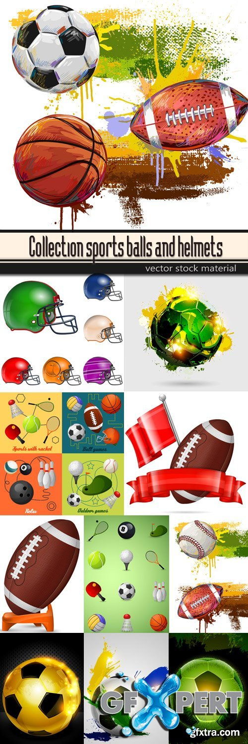 Collection sports balls and helmets