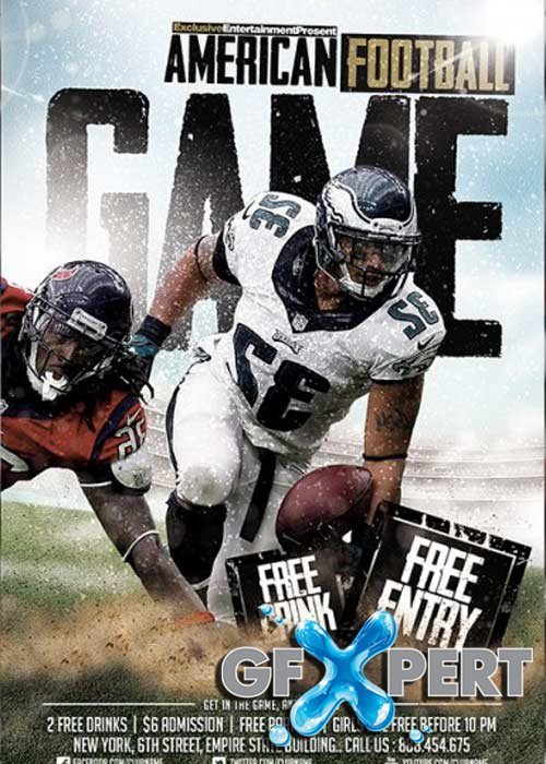 Free American Football Game Premium Flyer Template  Facebook Cover