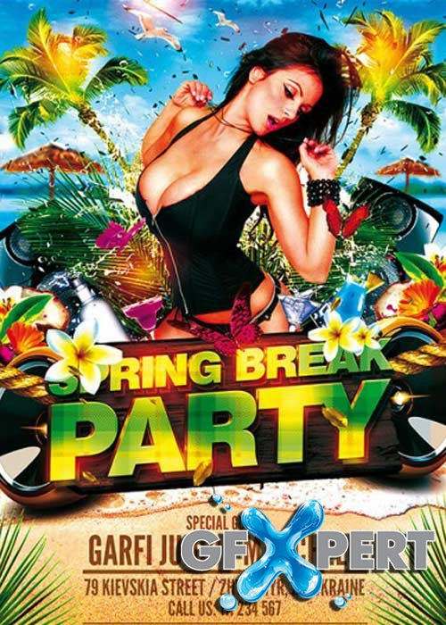 Spring Break Party Premium Flyer Template