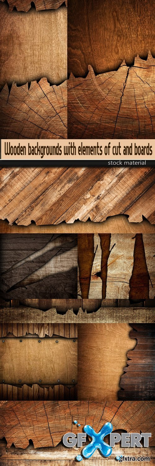 Wooden backgrounds with elements of cut and boards