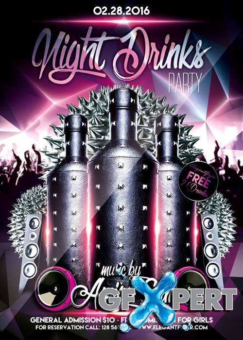 Night Drinks Party Flyer PSD Template + Facebook Cover