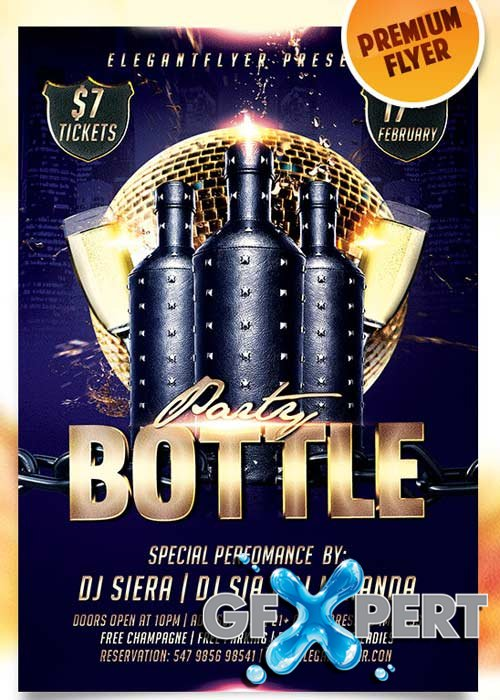 Bottle Party Flyer PSD Template + Facebook Cover