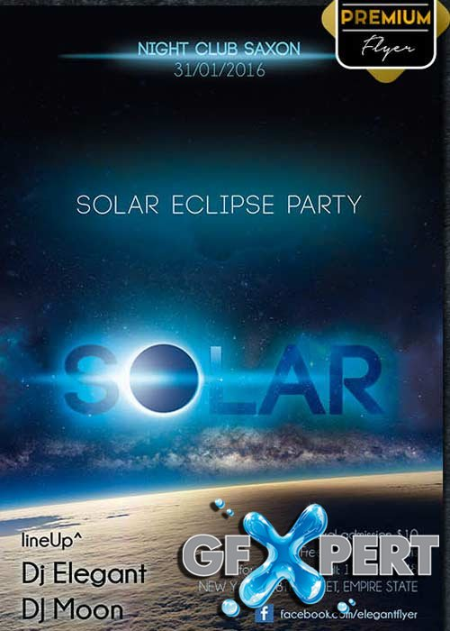 Solar Eclipse Party Flyer PSD Template + Facebook Cover