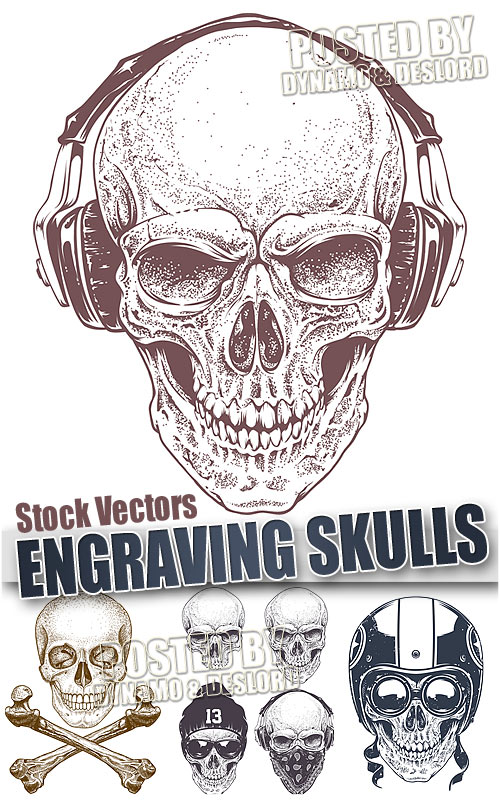 Engraving skull - Stock Vectors