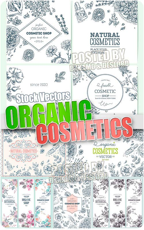 Organic cosmetics engraving - Stock Vectors