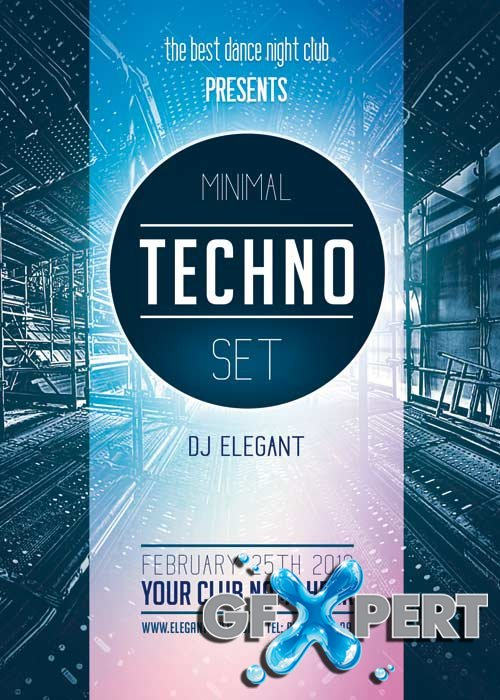 Minimal techno Premium Flyer Template + Facebook Cover