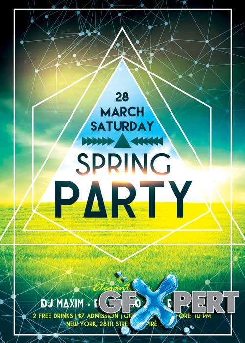 Free Spring Party V Premium Flyer Template  Facebook Cover Download