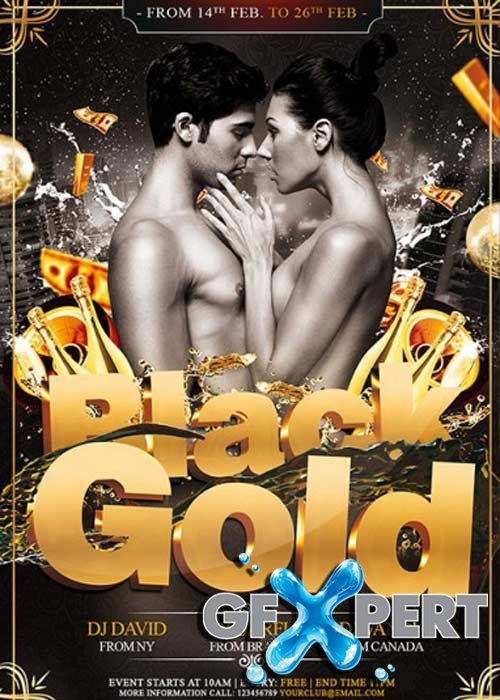 Black Gold Party Premium Flyer Template