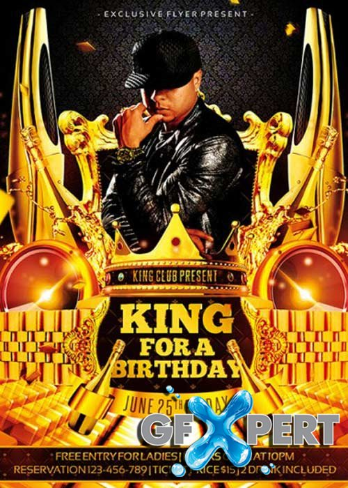 King for a Birthday Premium Flyer Template + Facebook Cover