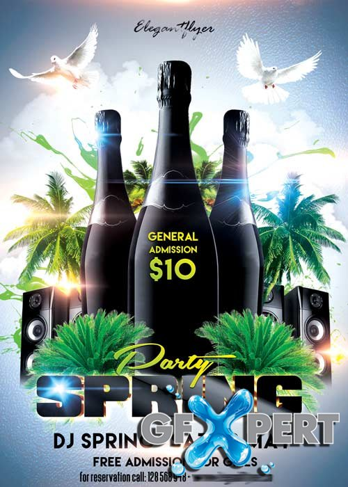 Spring Break Party Flyer PSD Template + Facebook Cover