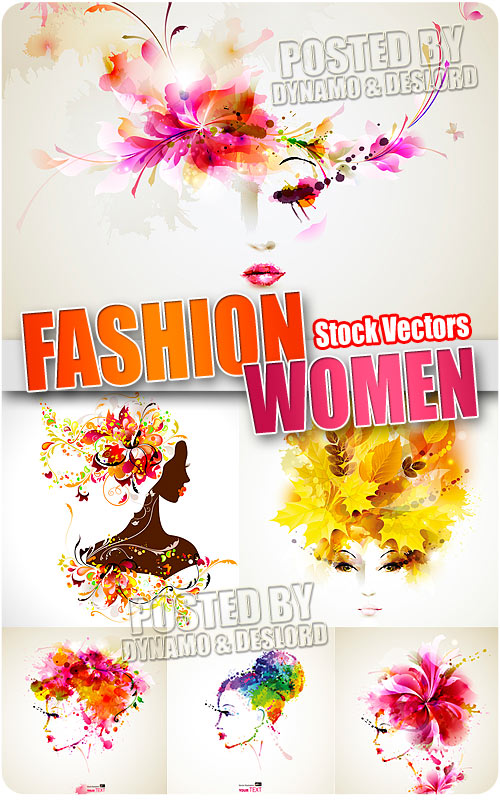 Fashion women with abstract - Stock Vectors