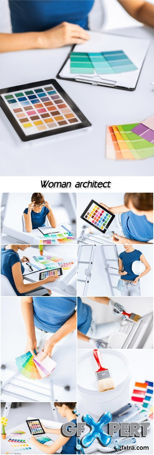 Woman working with color samples for selection, woman architect