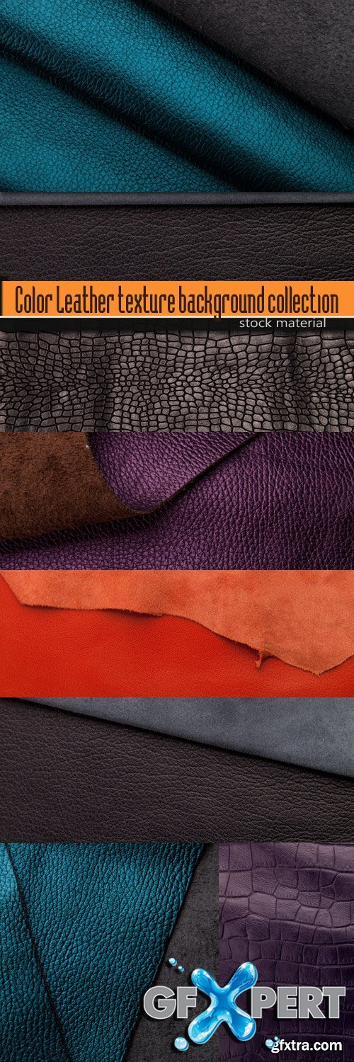 Color Leather texture background collection