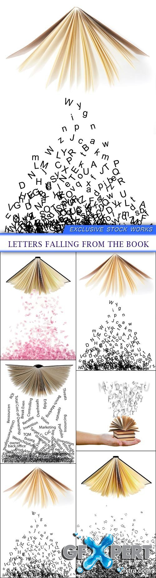 Letters falling from the book 6X JPEG