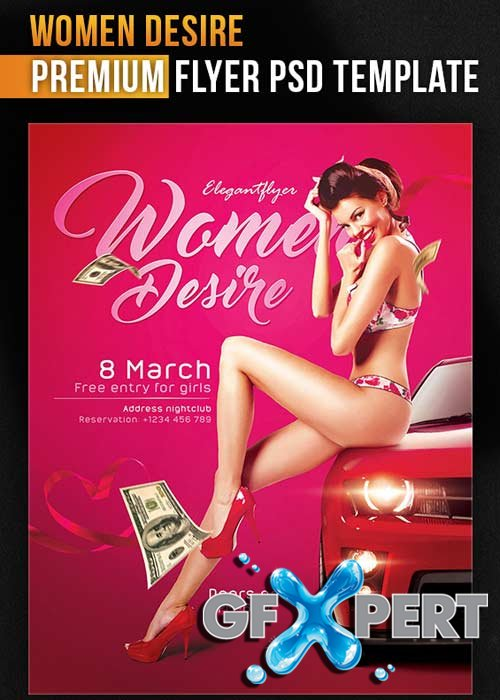 Women Desire Flyer PSD Template + Facebook Cover