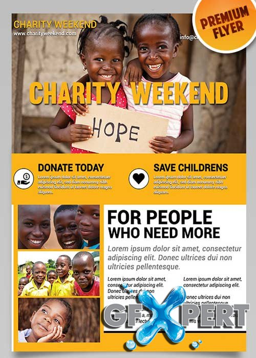 Charity Weekend Flyer PSD Template + Facebook Cover