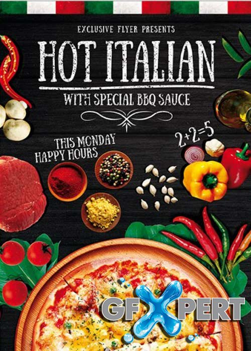 Hot Pizza Premium Flyer Template + Facebook Cover