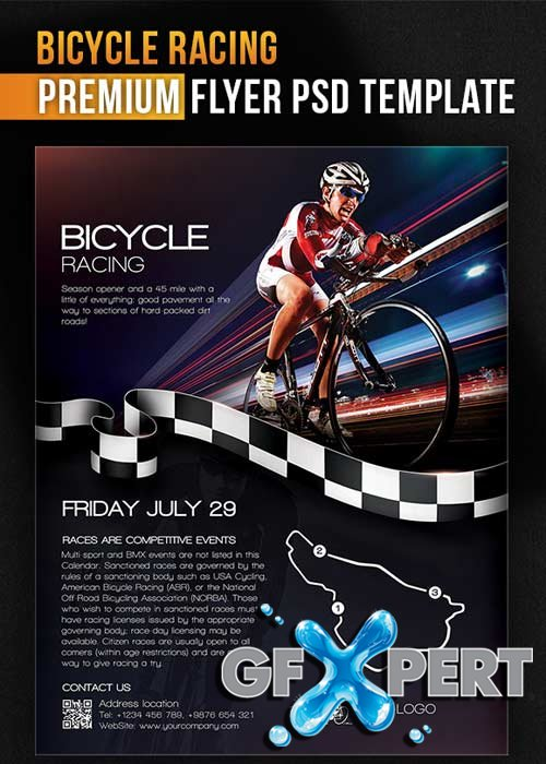 free bicycle racing flyer psd template facebook cover download