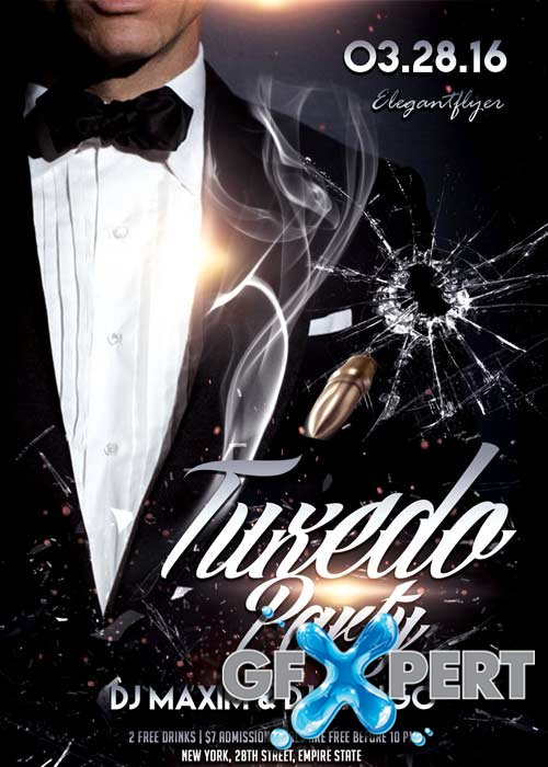 Tuxedo Party Flyer PSD Template + Facebook Cover